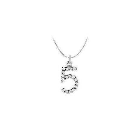 Cubic Zirconia Numeric 5 Charm Pendant : .925 Sterling Silver - 0.08 CT TGW