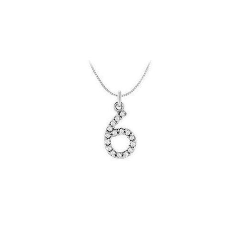 Cubic Zirconia Numeric 6 Charm Pendant : .925 Sterling Silver - 0.07 CT TGW