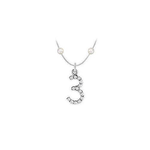 Cubic Zirconia and Cultured Pearl Numeric 3 Charm Pendant : .925 Sterling Silver - 0.06 CT TGW