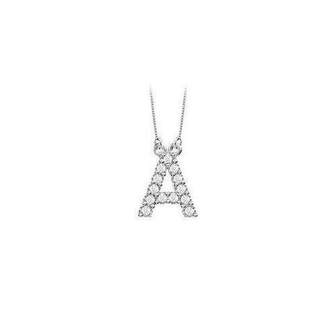 Petite Baby Charm Diamond A Initial Pendant : 14K White Gold - 0.20 CT Diamonds