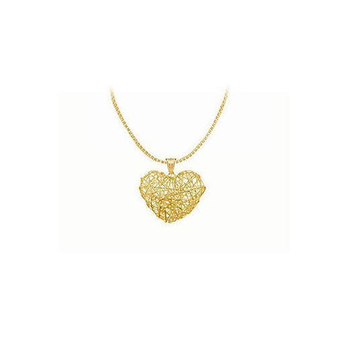 14K Yellow Gold Wire Heart Pendant