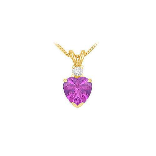 Diamond and Amethyst Solitaire Pendant : 14K Yellow Gold - 1.00 CT TGW