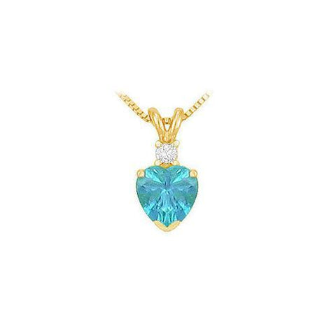 Diamond and Blue Topaz Solitaire Pendant : 14K Yellow Gold - 1.00 CT TGW