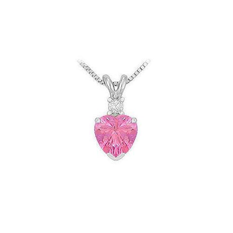 Synthetic Heart Shaped Pink Sapphire Solitaire Pendant : .925 Sterling Silver - 1.00 CT TGW