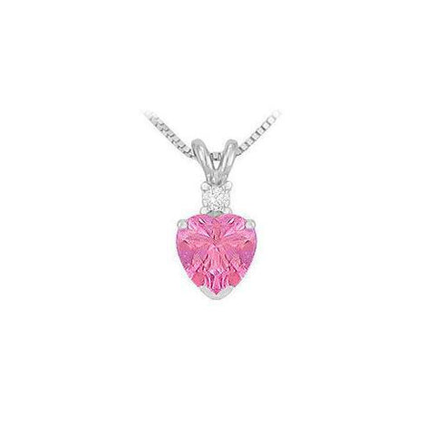 Diamond and Pink Topaz Solitaire Pendant : 14K White Gold - 1.00 CT TGW