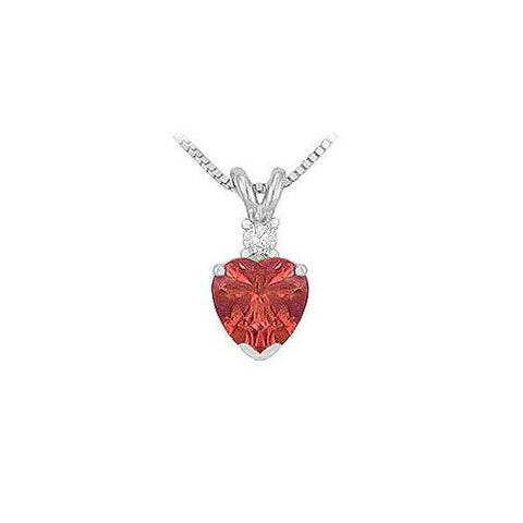 Synthetic Heart Shaped Ruby Solitaire Pendant : .925 Sterling Silver - 1.00 CT TGW