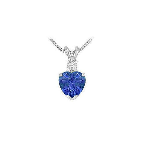 Synthetic Heart Shaped Sapphire Solitaire Pendant : .925 Sterling Silver - 1.00 CT TGW