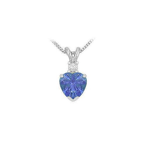 Synthetic Heart Shaped Tanzanite Solitaire Pendant : .925 Sterling Silver - 1.00 CT TGW