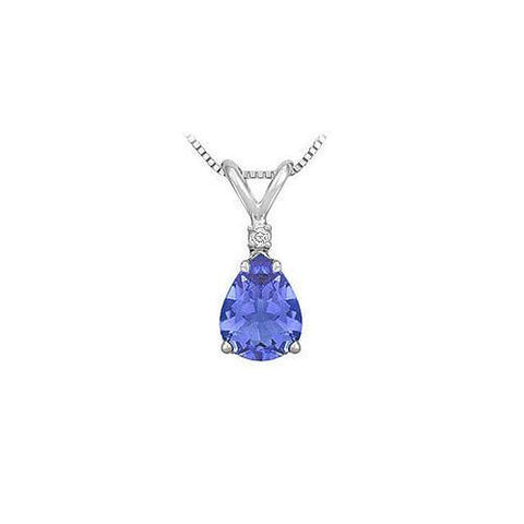 Synthetic Pear Shaped Tanzanite Solitaire Pendant : .925 Sterling Silver - 1.00 CT TGW