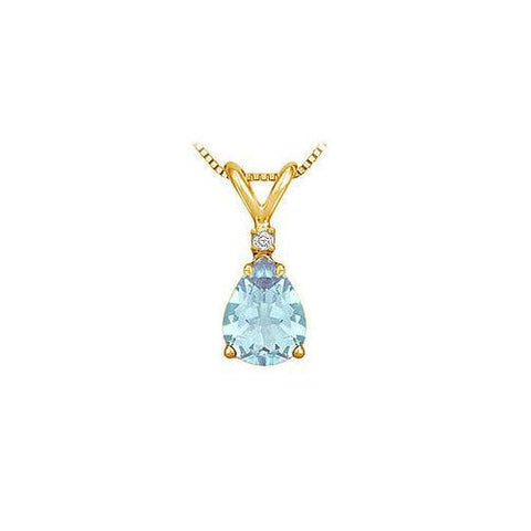 Diamond and Aquamarine Solitaire Pendant : 14K Yellow Gold - 1.00 CT TGW