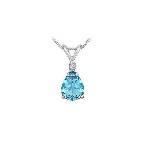 Diamond and Blue Topaz Solitaire Pendant : 14K White Gold - 1.00 CT TGW