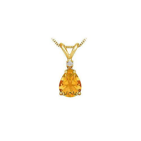 Diamond and Citrine Solitaire Pendant : 14K Yellow Gold - 1.00 CT TGW