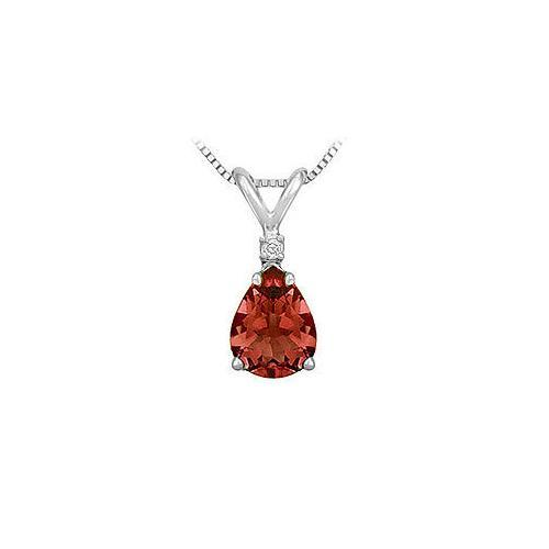 Diamond and Garnet Solitaire Pendant : 14K White Gold - 1.00 CT TGW