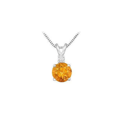 Diamond and Citrine Solitaire Pendant : 14K White Gold - 1.00 CT TGW