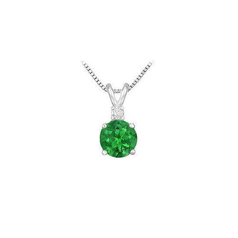 Synthetic Emerald Solitaire Pendant : 925 Sterling Silver - 1.00 CT TGW