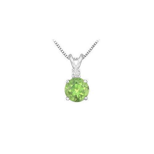 Diamond and Peridot Solitaire Pendant : 14K White Gold - 1.00 CT TGW
