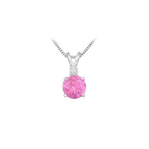 Synthetic Pink Sapphire Solitaire Pendant : .925 Sterling Silver - 1.00 CT TGW