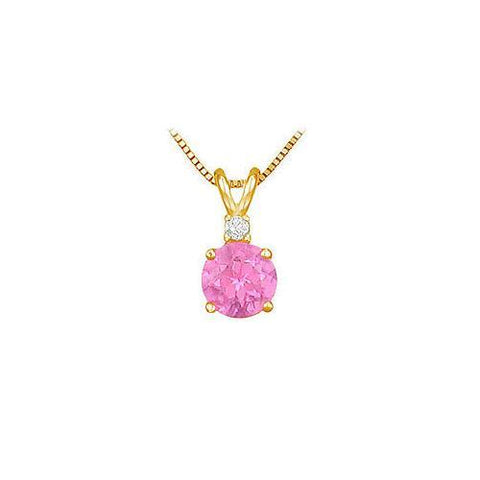 Diamond and Pink Topaz Solitaire Pendant : 14K Yellow Gold - 1.00 CT TGW