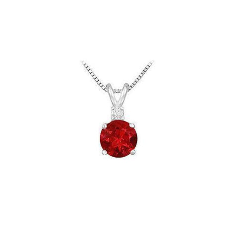 Synthetic Sapphire Solitaire Pendant : .925 Sterling Silver - 1.00 CT TGW