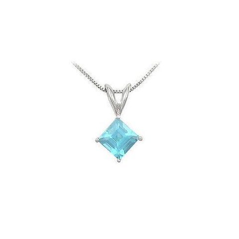Aquamarine Solitaire Pendant : 14K White Gold - 1.00 CT TGW