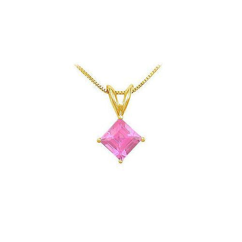 Pink Topaz Solitaire Pendant : 14K Yellow Gold - 1.00 CT TGW