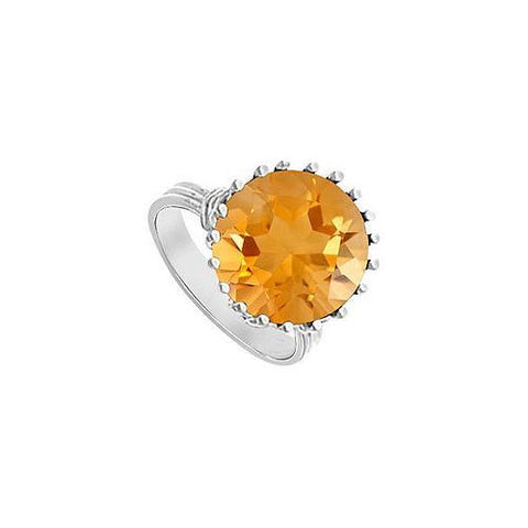 Citrine Fashion Mounting Solitaire Ring : 14K White Gold - 1.00 CT TGW