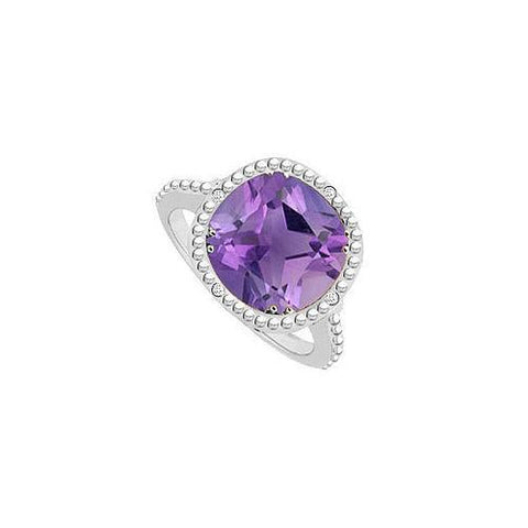 Amethyst and Diamond Ring 10K White Gold 2.05 CT TGW