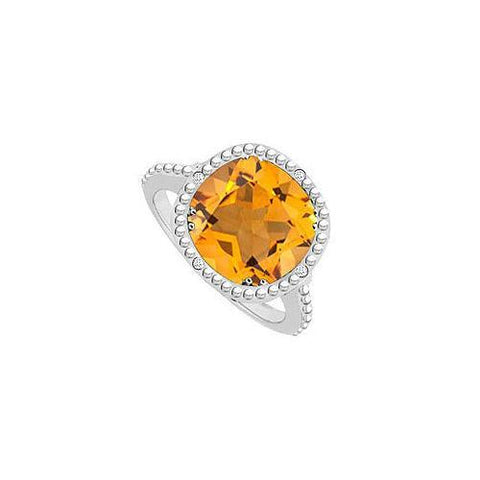 Citrine and Diamond Ring 10K White Gold 2.05 CT TGW