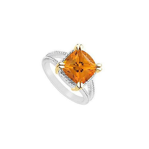 Citrine Ring : Two Tone (Sterling Silver & 14K Yellow Gold) - 6.00 CT TGW