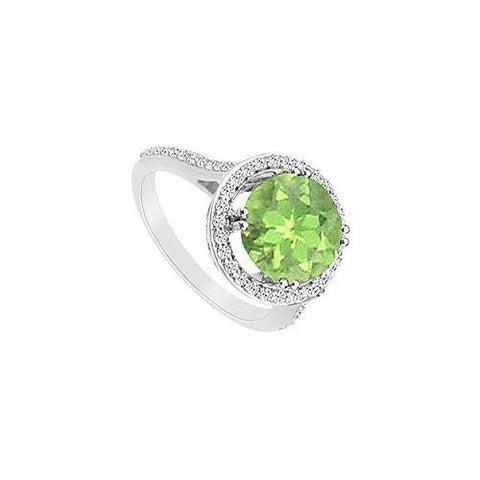 Peridot and Cubic Zirconia Ring : .925 Sterling Silver - 1.25 CT TGW