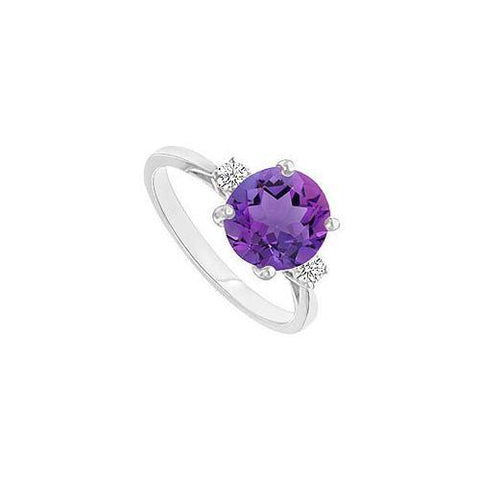 Amethyst and Diamond Ring : 14K White Gold - 0.75 CT TGW