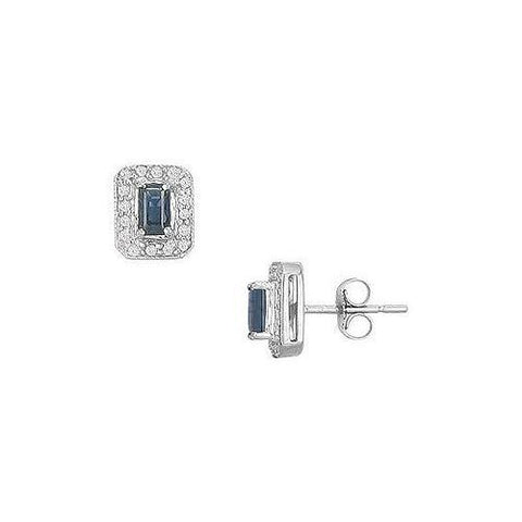 Sapphire and Diamond Earrings : 14K White Gold - 1.00 CT TGW