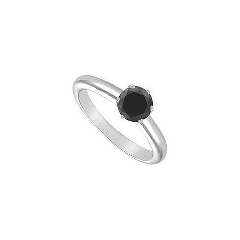 Black Onyx Solitaire Ring : 14K White Gold 1.00 CT TGW