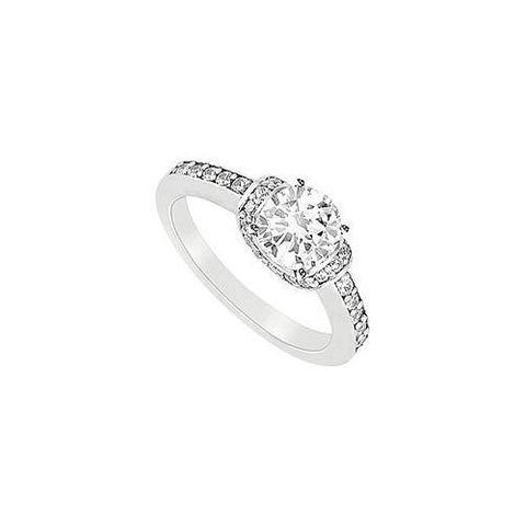 Semi Mount Engagement Ring in 14K White Gold with 0.25 CT Diamonds Not Included Center Diamond