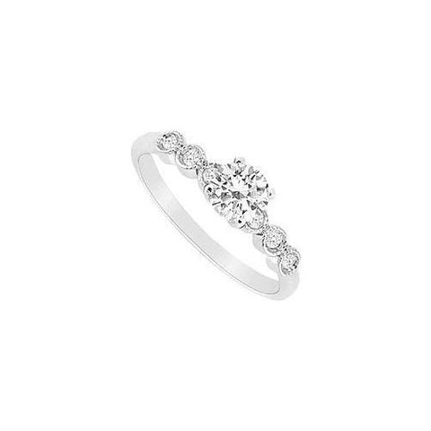 14K White Gold Semi Mount Engagement Ring 0.10 Carat Diamonds Not included Center Diamond