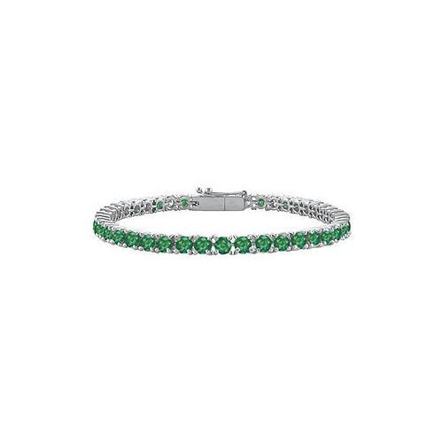 Frosted Emerald Prong Set Sterling Silver Tennis Bracelet 10.00 CT TGW