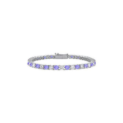 Sterling Silver Round Created Tanzanite and Cubic Zirconia Tennis Bracelet 3.00 CT TGW