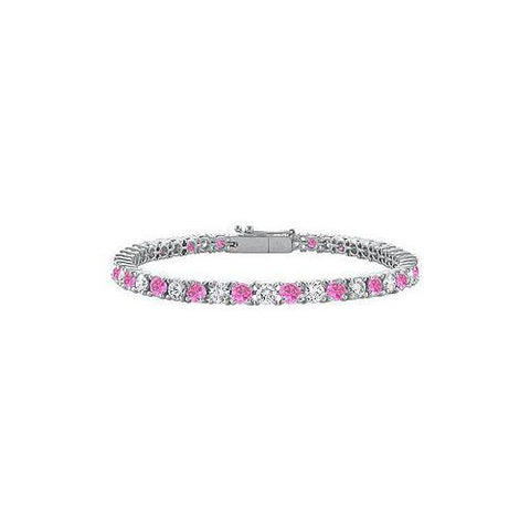 Sterling Silver Round Created Pink Sapphire and Cubic Zirconia Tennis Bracelet 4.00 CT TGW
