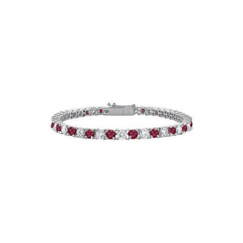 Sterling Silver Round GF Bangkok Ruby and Cubic Zirconia Tennis Bracelet 5.00 CT TGW
