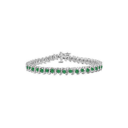 Frosted Emerald S Tennis Bracelet : 925 Sterling Silver - 3.00 CT TGW