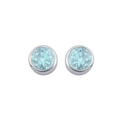 Created Aquamarine Bezel-Set Stud Earrings : .925 Sterling Silver - 2.00 CT TGW