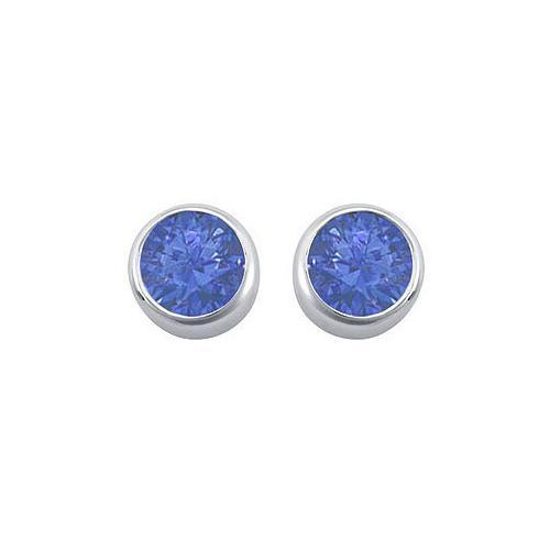Diffuse Sapphire Bezel-Set Stud Earrings : .925 Sterling Silver - 2.00 CT TGW