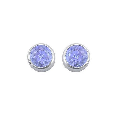 Created Tanzanite Bezel-Set Stud Earrings : .925 Sterling Silver - 2.00 CT TGW