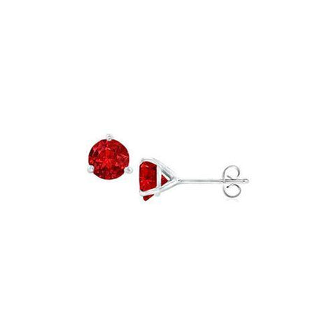 14K White Gold Martini Style GF Bangkok Ruby Stud Earrings with 0.50 CT TGW