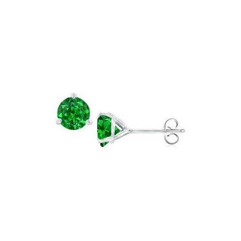 Sterling Silver Martini Style Created Emerald Stud Earrings with 1.00 CT TGW