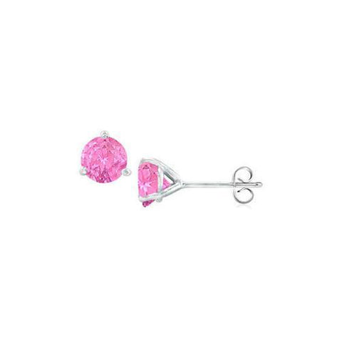 14K White Gold Martini Style Created Pink Sapphire Stud Earrings with 1.00 CT TGW