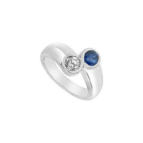 Diffuse Sapphire and Cubic Zirconia Ring : 14K White Gold - 1.00 CT TGW