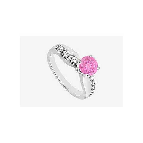 Engagement Ring Diamond and Pink Sapphire Prong Set in 14K White Gold 1.25 carat TGW