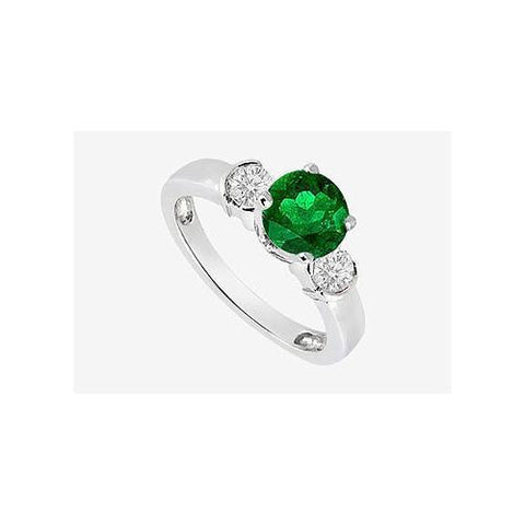 Engagement Ring Emerald and Cubic Zirconia in 14K White Gold 1.20 Carat TGW