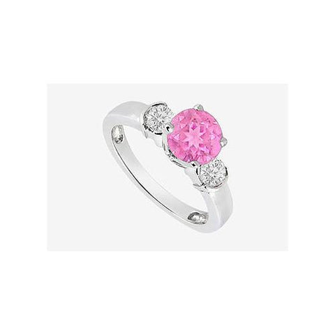 Pink sapphire Engagement Ring with Cubic Zirconia in 14K White Gold 1.20 Carat TGW